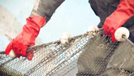 fisker med garn og hansker